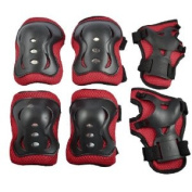 Como Kids Skating Sports Protective Palm Wrist Elbow Knee Support Brace Set Red Black