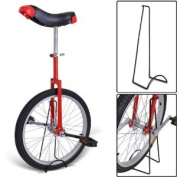 50cm Red Chrome Unicycle W/ Free Stand Wheel Skidproof Tyre Bike Unicycle Cycling