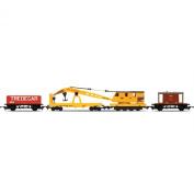 Hornby R6365 RailRoad Breakdown Train - 20 Tonne Brake Van, Crane, LWB Open 00 Gauge Waggon Rolling Stock