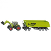 Claas Axion 850 Tractor with Frontloader, Dolly and Fliegl Tipping Trailer