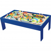 80 pcs Wooden City Train Set with Playing Table, Natural Beech Wood