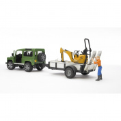 Bruder Land Rover Defender, Rigid Drawbar Trailer, Jcb Micro Excavator and Construction Worker