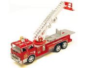 30cm Bump & Go Rescue Fire Engine Truck Kids Toy with Extending Ladder & Lights & Siren Sounds