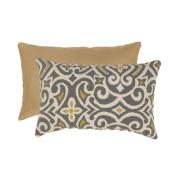 Pillow Perfect 475097 Grey and Greenish-Yellow Damask Rectangular Throw Pillow