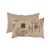 Pillow Perfect 474847 Linen/Red French Postale Rectangular Throw Pillow