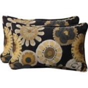 Pillow Perfect 449654 Decorative Black/Yellow Floral Toss Pillows Rectangle, Set of Two