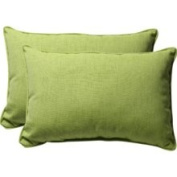 Pillow Perfect 451626 Decorative Green Textured Solid Toss Pillow Rectangle, Set of Two