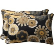 Pillow Perfect 449661 Decorative Black/Yellow Floral Toss Pillow Rectangle, Set of Two