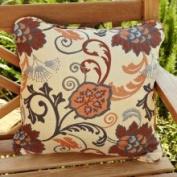 Clara Beige/ Grey 55.9cm Square Outdoor Sunbrella Pillows (Set of 2)