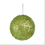 Fancy Green Apple Holographic Glitter Drenched Christmas Ball Ornament