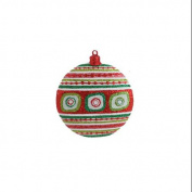 10.2cm Christmas Brites Ornate Striped Glittered Disc Ornament