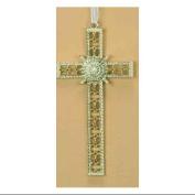 13.3cm Christmas Joy Pearl Decorative Cross Ornament