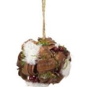 10.2cm Modern Lodge Moss and Rattan Berry Christmas Ball Ornament