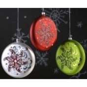 14cm Holiday Cheer Green Glass Snowflake Christmas Disc Ornament