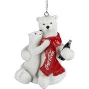 7.6cm Polar Bear and Cub Drinking Coca-Cola Christmas Ornament
