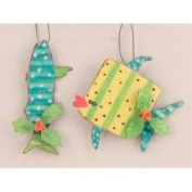 Teal Baracuda and Yellow Whale Metal Fish Holiday Ornaments
