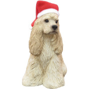 Sandicast Buff Cocker Spaniel with Santa Hat Christmas Ornament