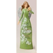 20.3cm Christmas Garden Green Floral Angel Figure with Verse