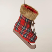 27.9cm Country Cabin Red Tartan Plaid Ice Skating Boot Christmas Ornament