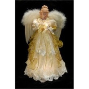 41.9cm Seasons of Elegance Lighted Ivory and Gold Angel Christmas Tree