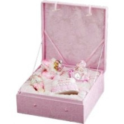 4-Piece Pink Baby's First Christmas Girl Glass Ornament Boxed Gift