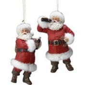 Pack of 8 Fabriche Santa with Coca-Cola Christmas Ornaments 11.4cm
