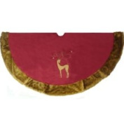 142.2cm Brick Red Noble Reindeer Christmas Tree Skirt with Faux Fur Trim