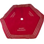 142.2cm Red Happy Holidays Christmas Tree Skirt with Striped Trim