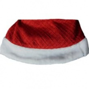121.9cm Woven Red Sparkle Chenille Christmas Tree Skirt with White Faux