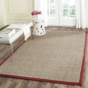 Safavieh Natural Fibre Collection NF114D Basketweave Natural and Red Seagrass Area Rug