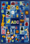 Fun Rugs Letters and Names Kids' Rug, Blue, 0.9m x 0m7.6cm x 0.9m x 0m25cm