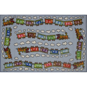 Fun Rugs Educational Train Kids' Rug, Light Blue, 0.9m x 0m7.6cm x 0.9m x 0m25cm
