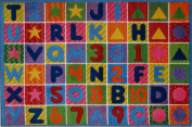 LA Rug TSC-137 5376 Supreme Collection Numbers & Letters Rug - 5ft 3in x 7ft6in