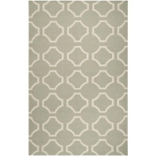 0.6m x 0.9m Mellow Web Bay Leaf Green and White Hand Woven Wool Area Throw Rug