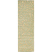 Safavieh Soho Trinity Wool Runner Rug, Soft Light Blue/Ivory