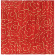 Handmade Soho Roses Red New Zealand Wool Rug