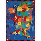 Joy Carpets 1547D Read Across America 7 ft.8 in. x 10 ft.9 in. 100 Pct. STAINMASTER Nylon Machine Tufted- Cut Pile Educational Rug