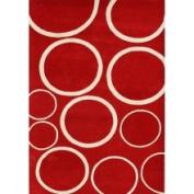 Horizon Home Imports Alliyah Handmade New Zeeland Blend Red Circle Wool Rug (8' x 10') (Horizon Handmade Sabrina Red Circle Rug