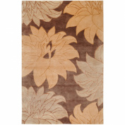 Surya Mugal IN-8269 Transitional Hand Knotted 100% Semi-Worsted New Zealand Wool Brown 0.6m x 3m Runner