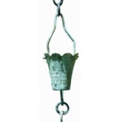 Patina Products R252 Verdigris Fluted Cup Rain Chain Full Length