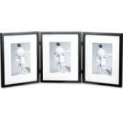 Lawrence Frames Simple Wood Black Matted Triple Picture Frame