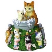 San Francisco Music Box Cats in Bubble Bath Rotating Figurine