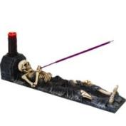 Skeleton Cold Cast Resin Incense Burner with Candle Holder, 28cm