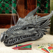 Design Toscano Stryker The Smoking Dragon Sculptural Incense Box in Dark Grey Stone