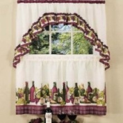 Chardonnay Cottage Tier and Swag Valance Set, 57 x 24