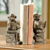 SPI Cast Iron Reading Monkey Bookends