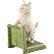 Pair Cast Iron White Westie Dog Bookends Book Ends