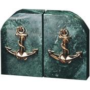 Bey Berk R10C Green Marble & Brass Anchor Bookends