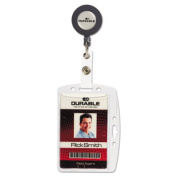 Durable 801219 Shell-Style ID Card Holder Vertical-Horizontal With Reel Clear 10-BX