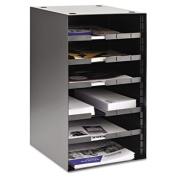 "Steel Desktop Sorter, Four Adjustable Shelves, 11 1/2"" x 12"" x 19"", Black"